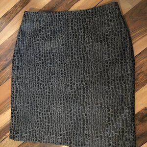 Ann Taylor Loft Blue/Grey Leopard Style Skirt